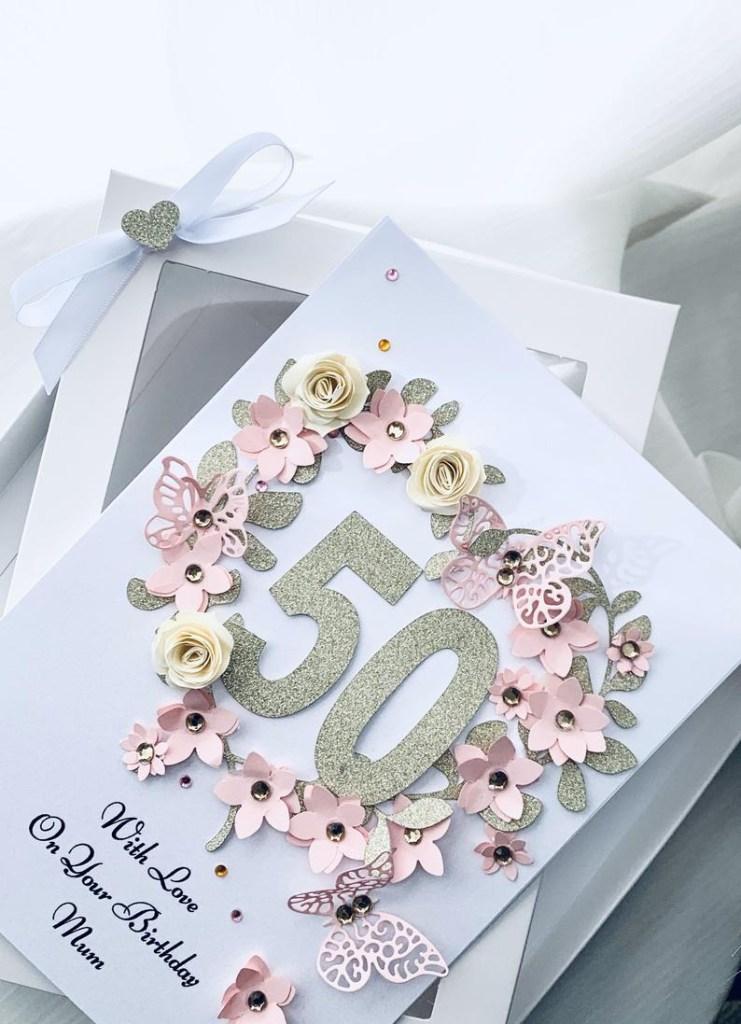 luxury handmade personalised birthday card mum 40th 50th