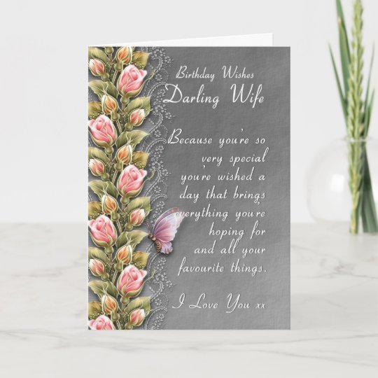 wife birthday card birthday card with roses and zazzle