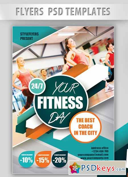 your fitness day flyer psd template facebook cover