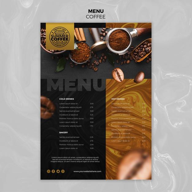 coffee shop menu template free psd file