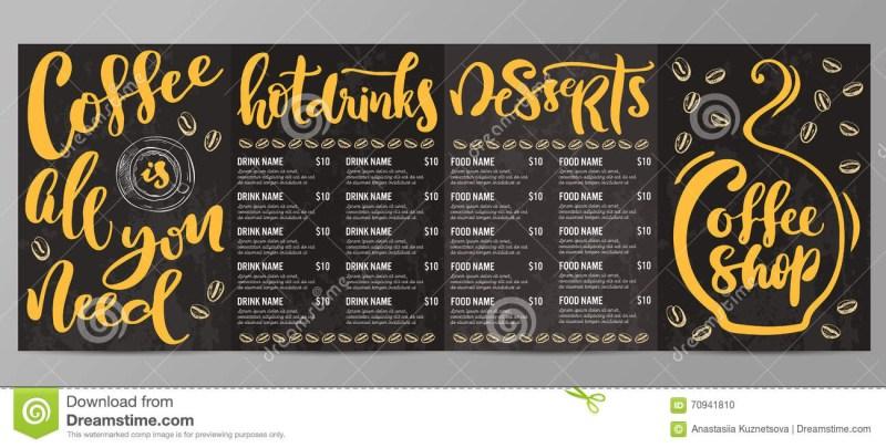 coffee shop menu template stock vector illustration of