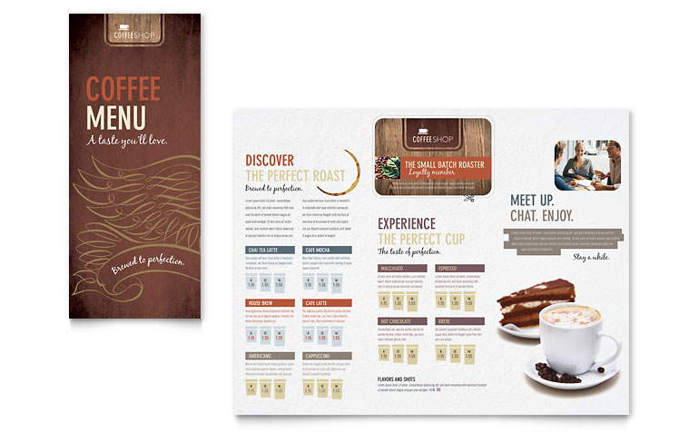 coffee shop menu template word publisher