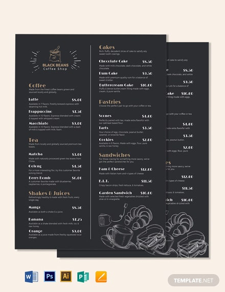 coffee shop templates in microsoft word doc template