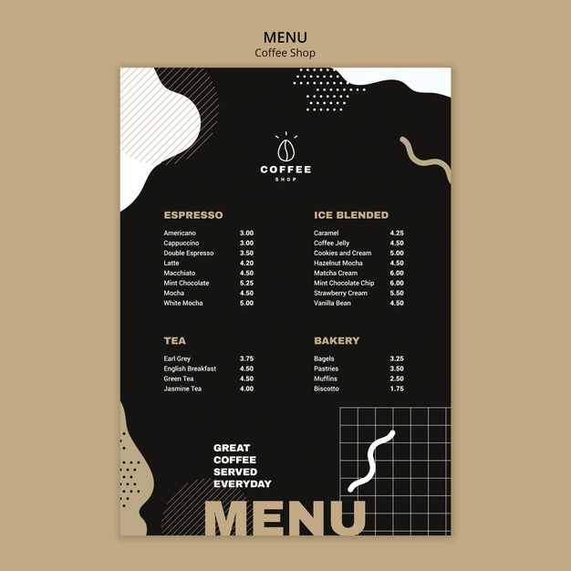 menu template concept for coffee shop free psd file