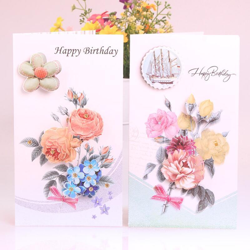 8 pcslot cute birthday cards flower printing children