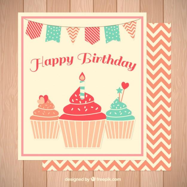 cute delicious cupcakes birthday card free vector