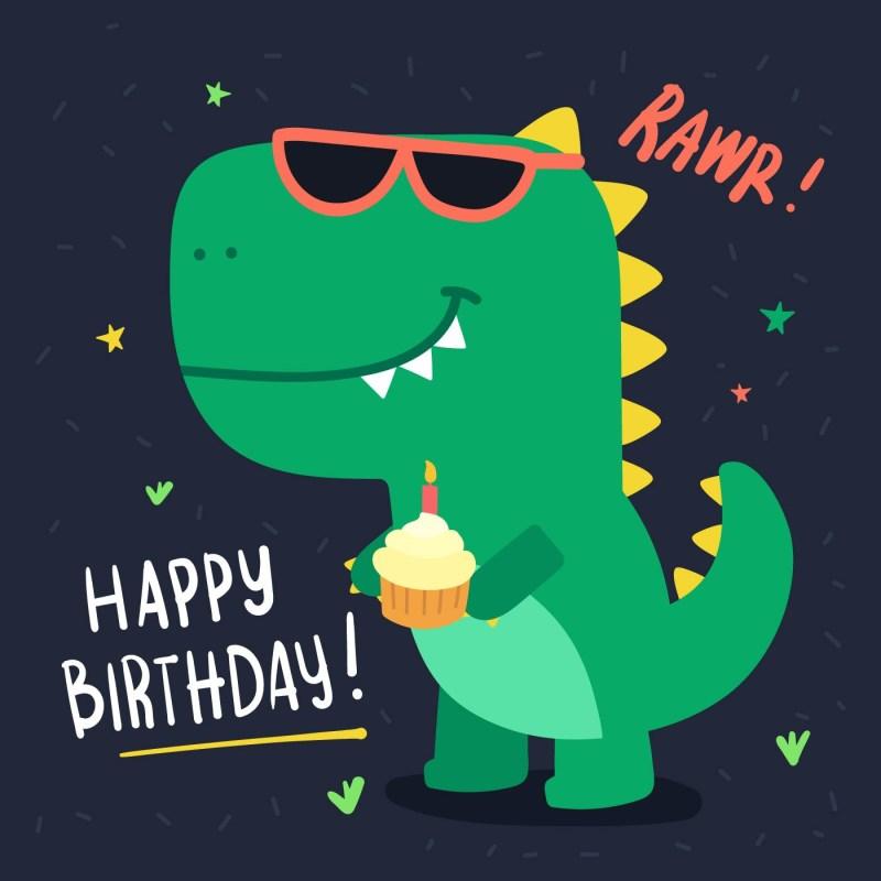 cute dinosaur birthday card download free vectors