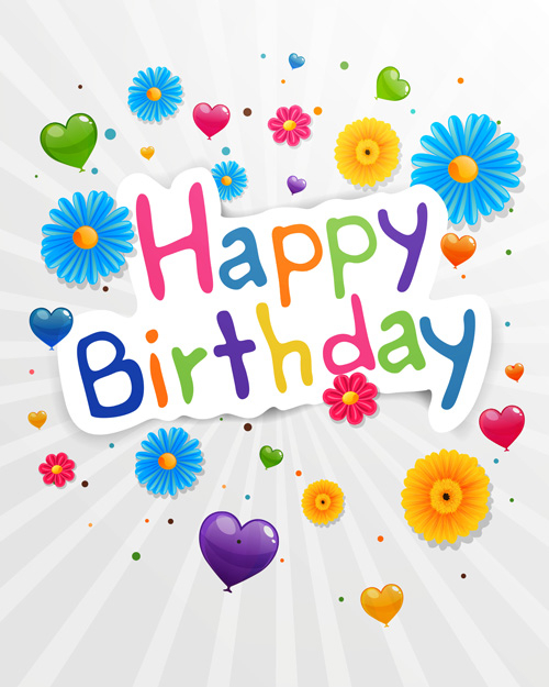 cute flower with happy birthday greeting cards vector 03