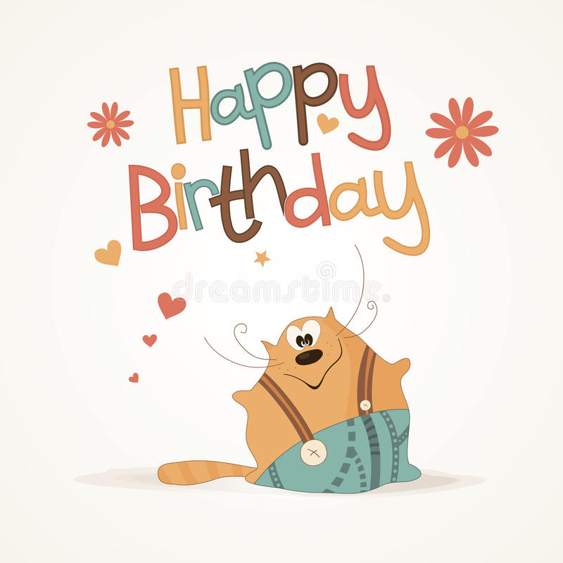 cute happy birthday card stock vector illustration of
