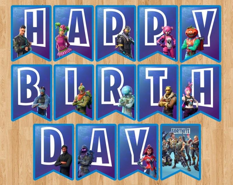 fortnite birthday banner fortnite flag pennant party badge