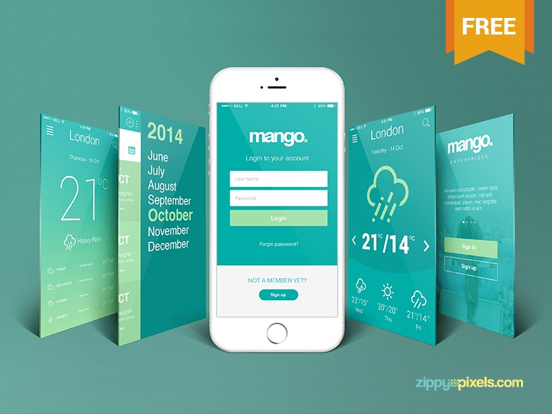 free iphone perspective app screen mockup zippypixels