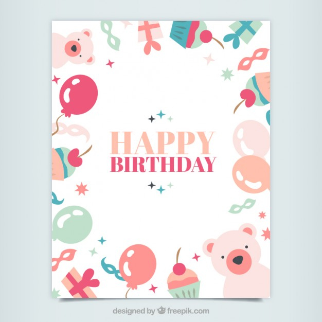 free vector cute happy birthday card