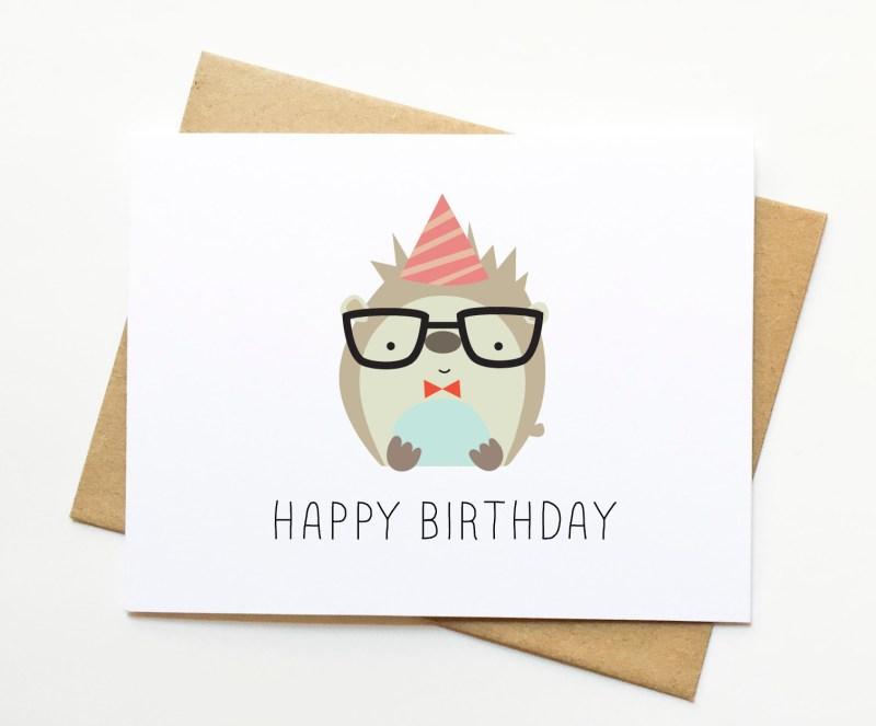 hedgehog happy birthday cute illustration card on storenvy