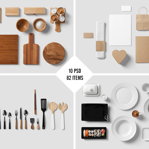 restaurant food branding mock up from forgraphic