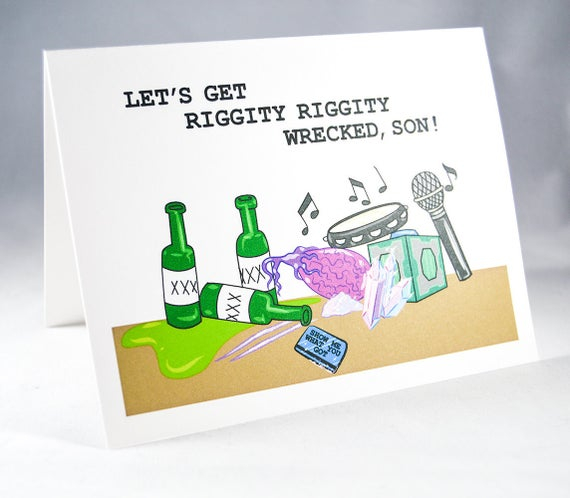 riggity wrecked card rick and morty birthday card bachelor