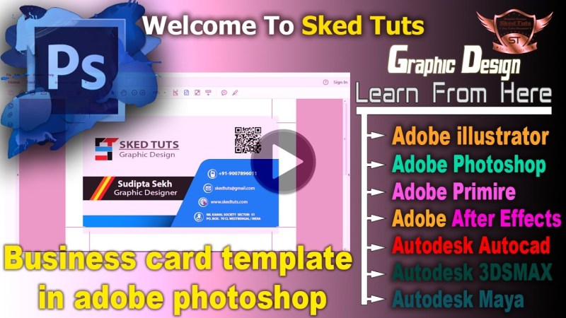 business card template in adobe photoshop part 02 youtube
