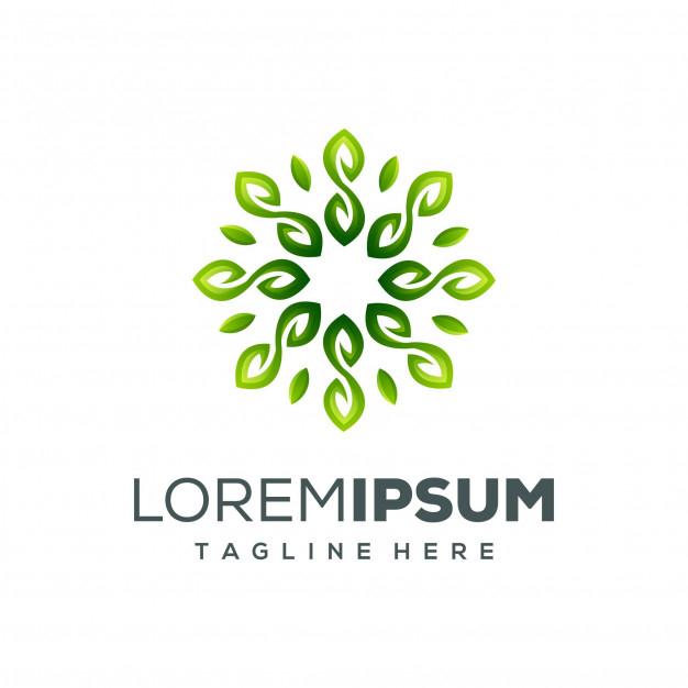 circle leaf logo design vector illustration vector
