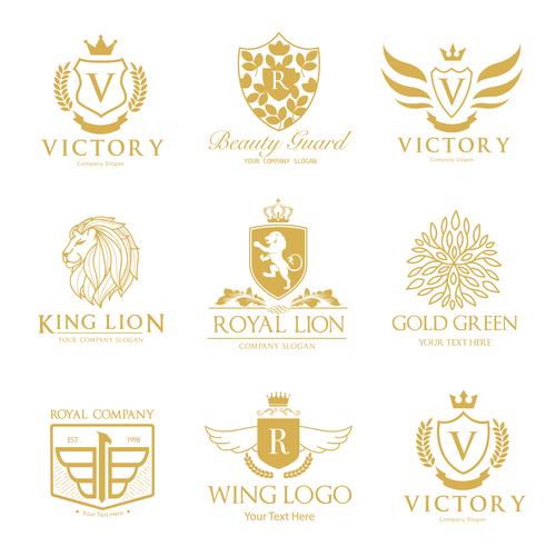 golden luxury logos design vector free download
