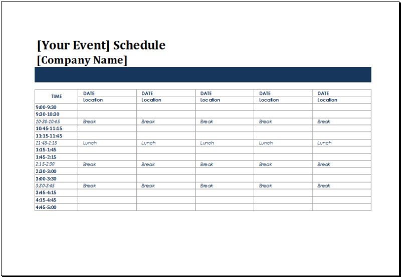 template for schedule of events printable schedule template