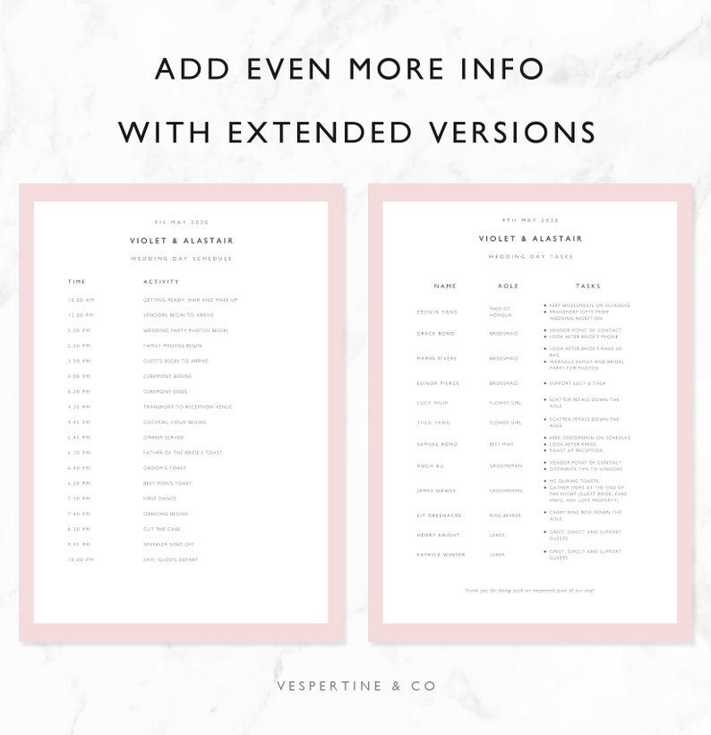 wedding timeline template bridal wedding day schedule etsy