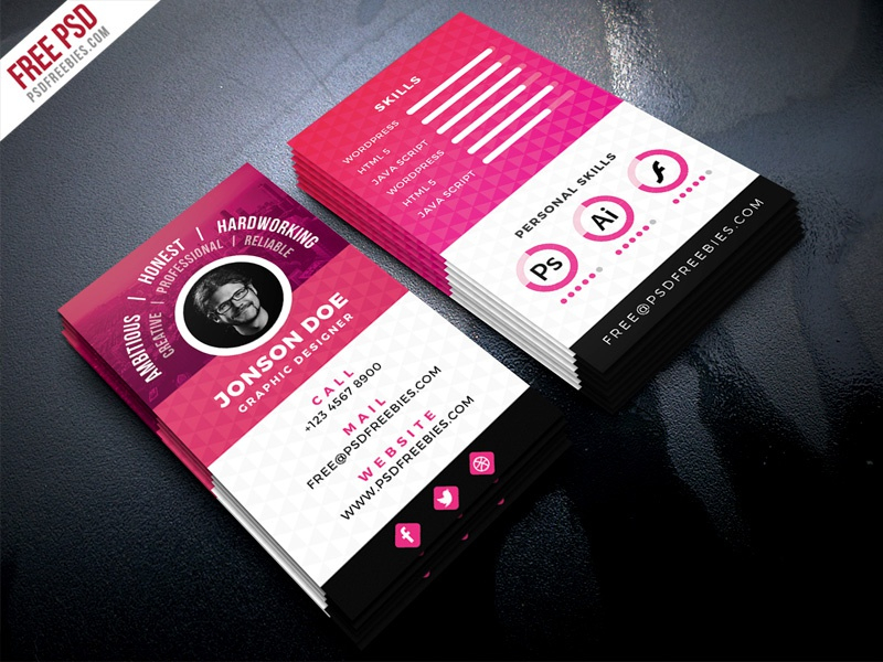free psd resume style business card psd template psd