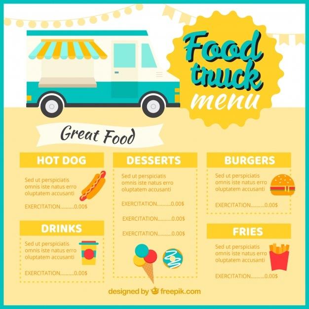 free vector classic food truck menu template