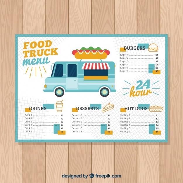 free vector hot dog food truck menu template