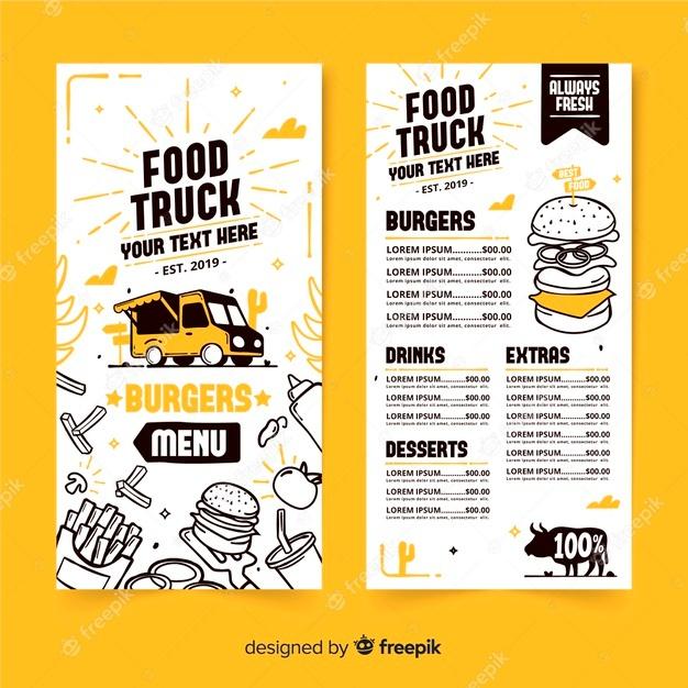 hand drawn food truck menu template free vector