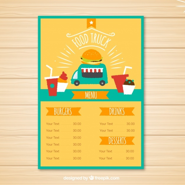 lovely food truck menu template free vector