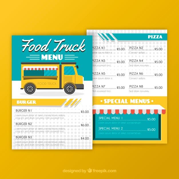 modern food truck menu template vector free download
