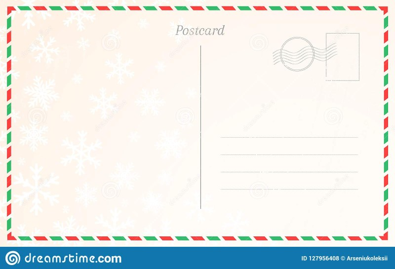 old postal card template with winter snowflakes postcard