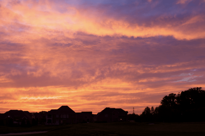 Sunset in the suburbs.