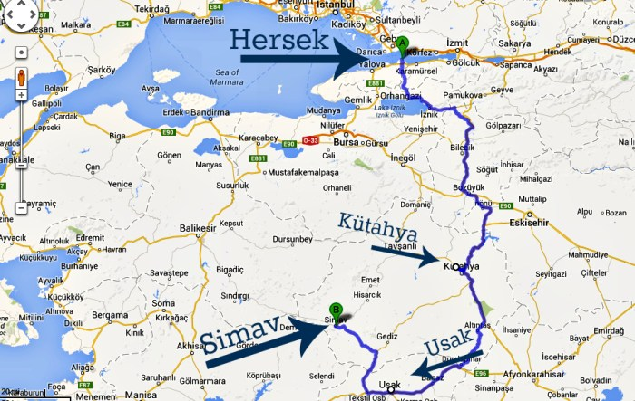 Evliya Celebi Way map