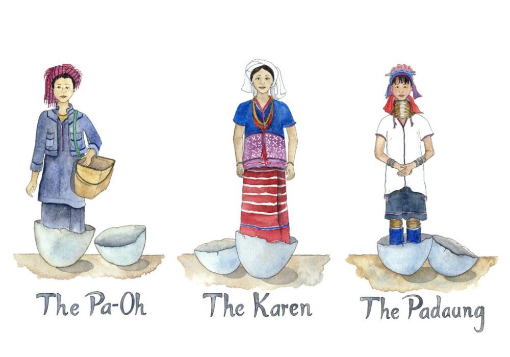 Travel illustrations of Myanmar