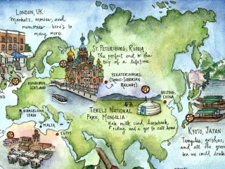 Hand-drawn and illustrated world map