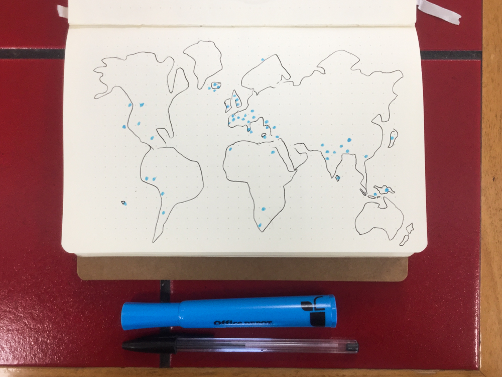 Hand-drawn map of the world