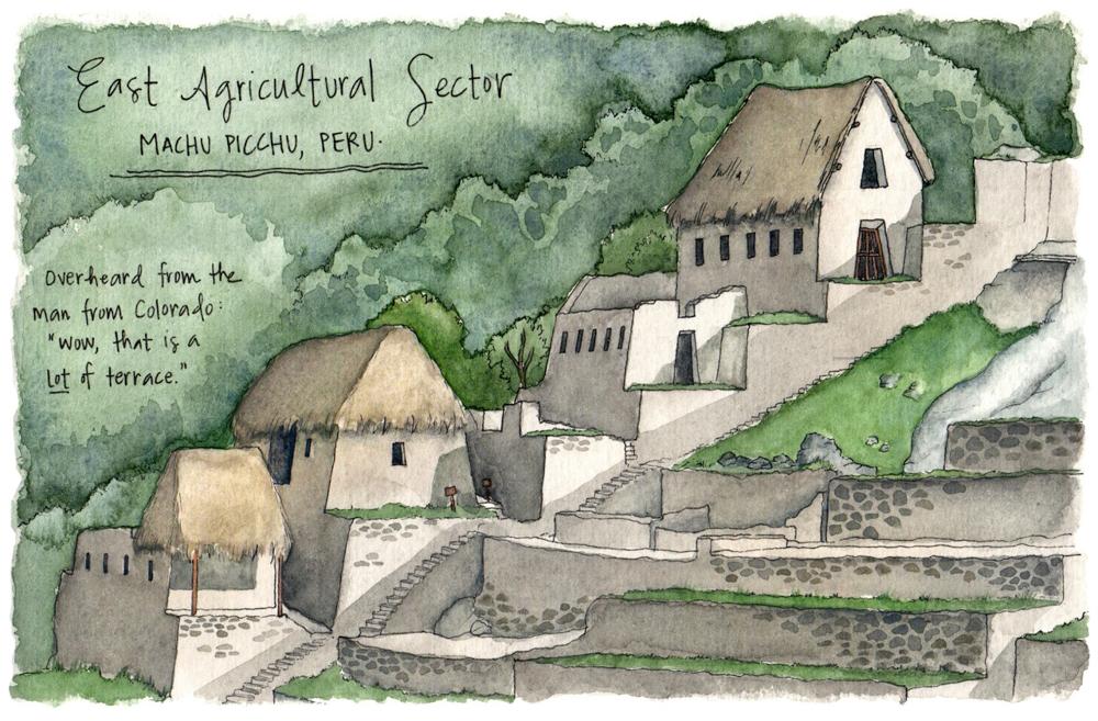 Sketches of Machu Picchu Peru