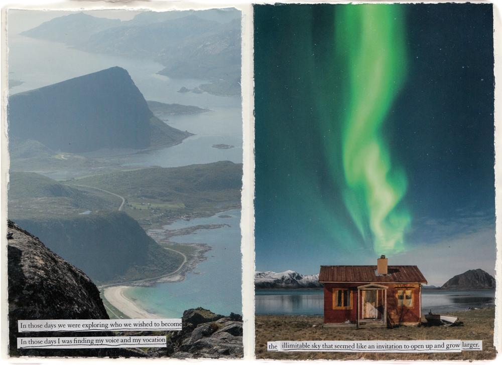 Magazine collage in art journal
