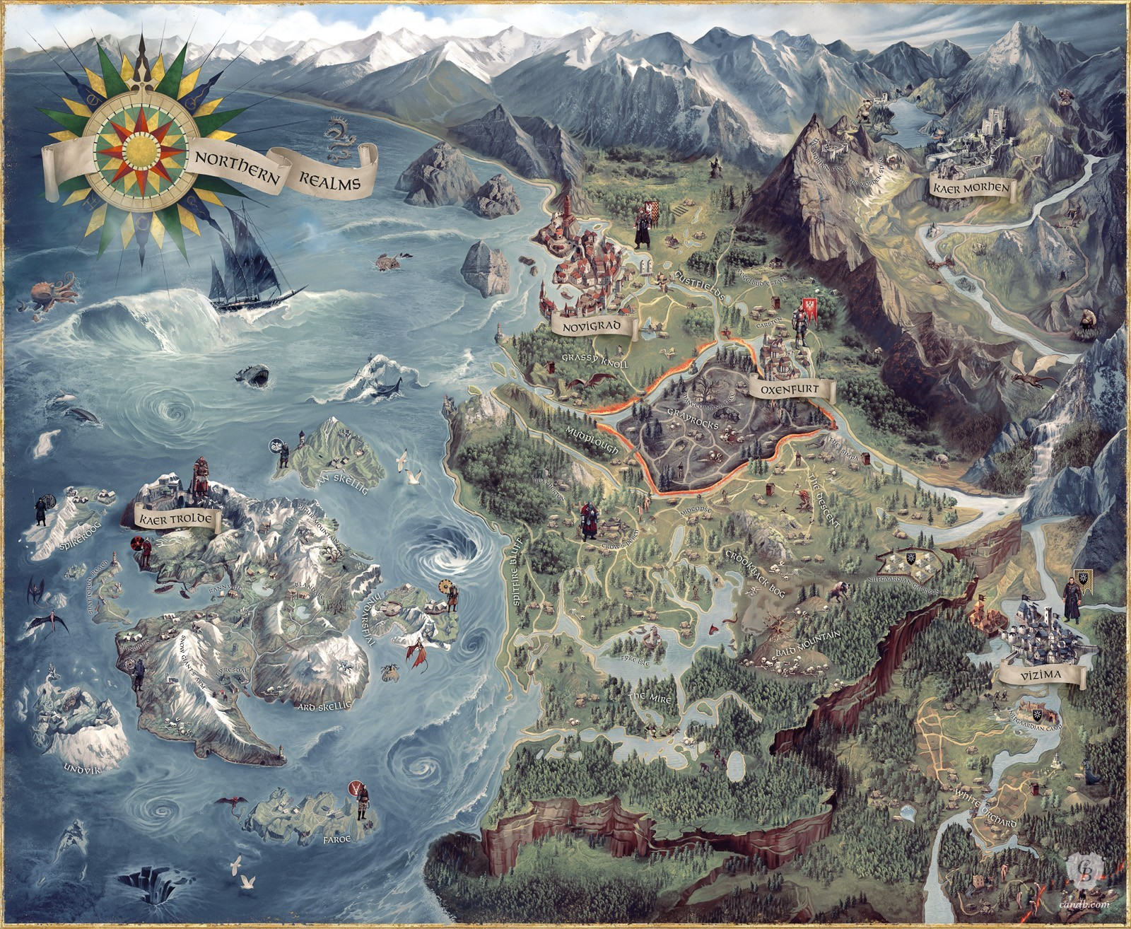 Artwork The Witcher 3 World Map CD Projekt Red The Witcher 3 World Map   The Witcher 3 World Map is an official concept  artwork