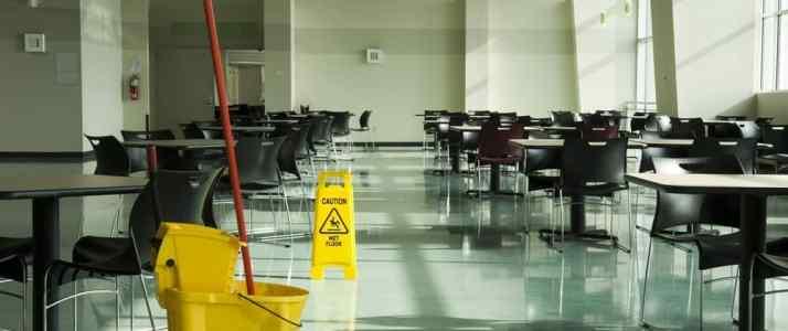 Wet Floor Empty Canteen