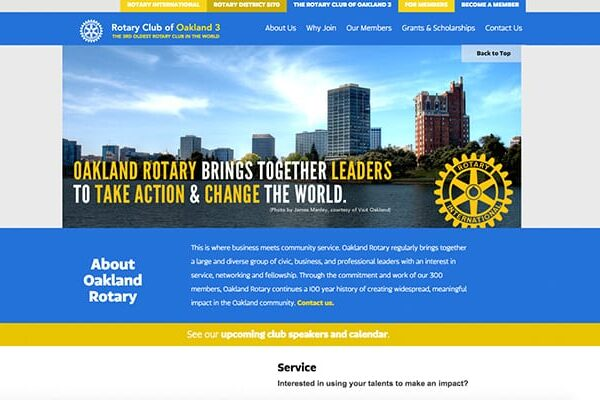 Website design project for Rotary Club of Oakland 3