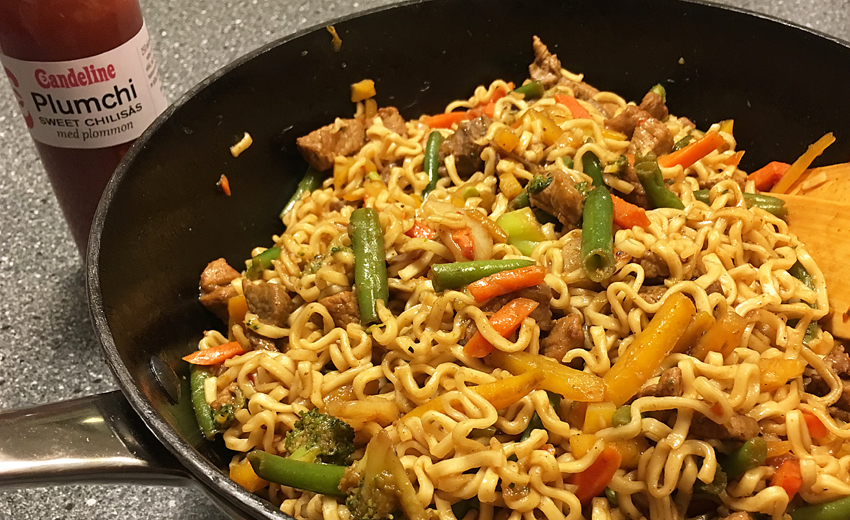 recept,wok,sweet chili, plumchi