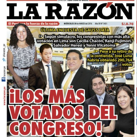 José Luna entre los 4 congresistas más votados, pese a que retiraron su candidatura