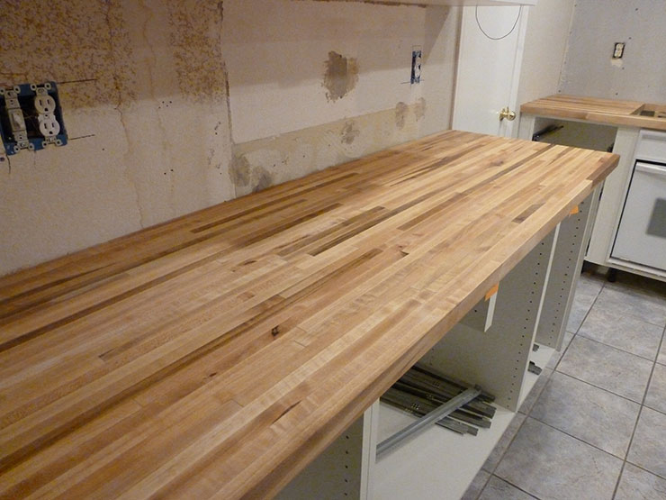 Our Kitchen Reno   Maple Countertops are IN!   Candied Fabrics on Maple Countertops id=61227