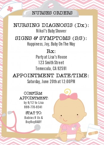 Little Nurse On The Way Baby Shower Invitation