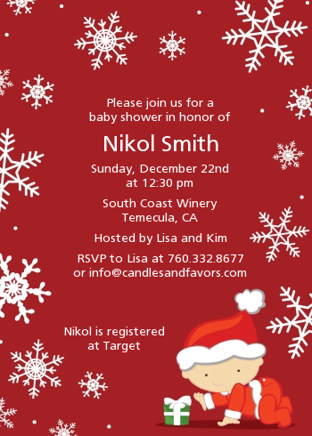Christmas Baby Snowflakes Baby Shower Invitations