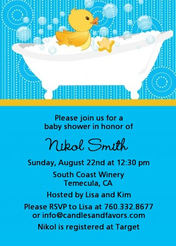 Duck Baby Shower Invitations Candles