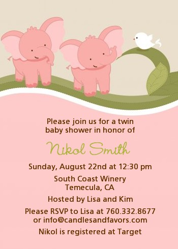 Twin Elephant S Baby Shower Invitations