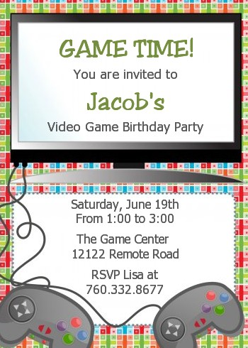 video game time birthday party invitations candles and favors