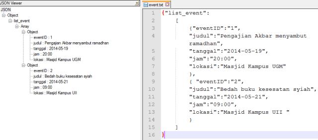 JSON viewer di Notepad++